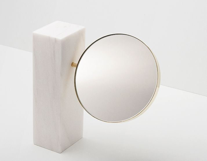 beautiful modern, marble base, gold/brass banded pivotal mirror... from the GUD COLLECTION