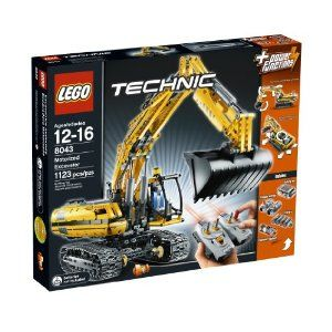 LEGO TECHNIC  Motorized Excavator 8043 by LEGO. $299.99. Fully remote controlled excavator. Rebuilds into a Tracked Loader. 1,123 LEGO pieces. Cabin spins 360 degrees. Double remote controls tracks to run back and forth, arm to raise and lower and shovel to dig. From the Manufacturer                No construction project is too big for this heavy-duty excavator!  Flip a switch on the Power Functions dual infrared remote control to drive the excavator and spin the cabin ...