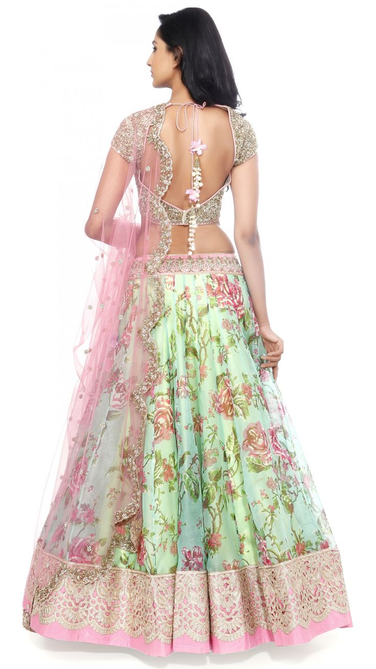 Anushree Reddy's Blue Green Floral Lengha Set - JIVA