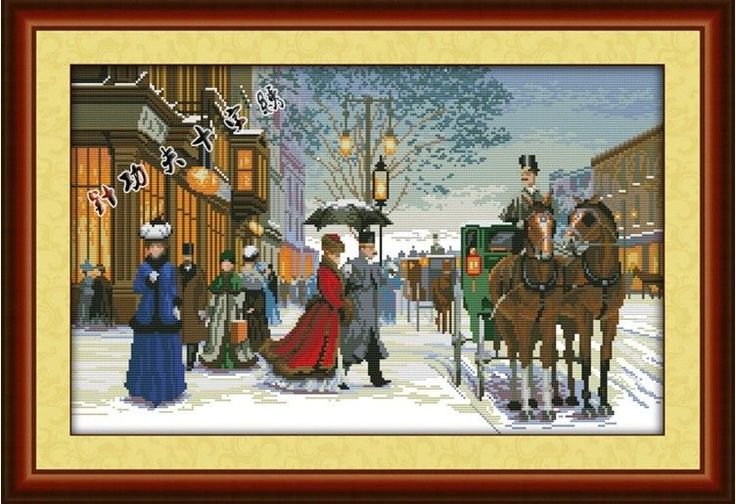 New Stamped Cross Stitch Kits Exotic Evening Design Cloth Size: 28*18inch #EverlastingLove #Frame
