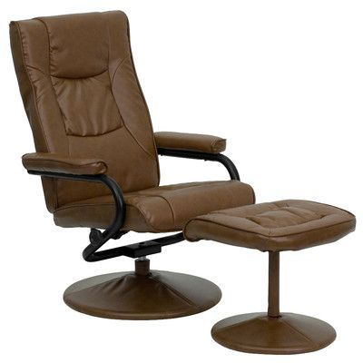 Charlton Home Soft Leather Reclining Office Chair and Ottoman Set Upholstery: Palimino