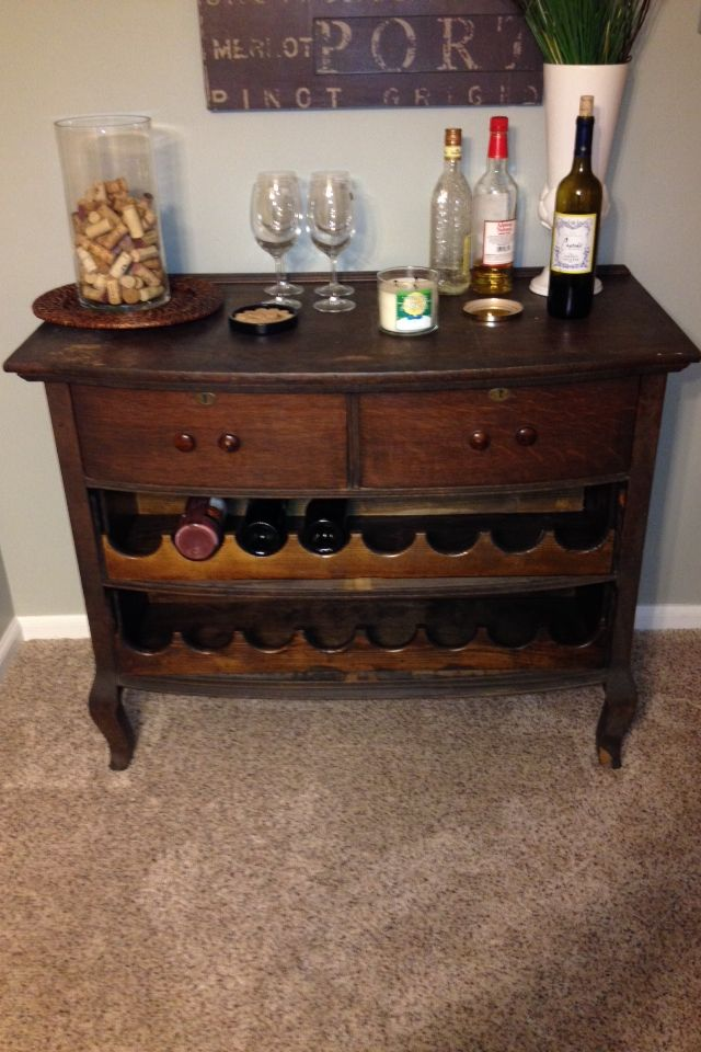 Antique Dresser Turned Into A Wine Bar Without Compromise