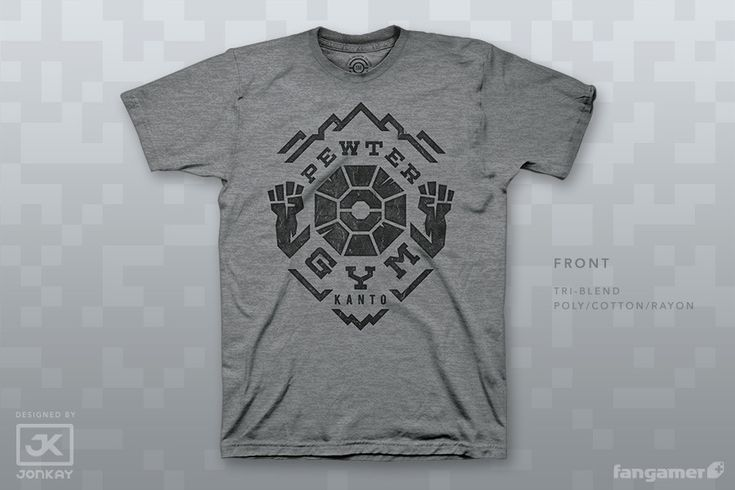 """The stone-cold master of the Pewter Gym has caught many new trainers off guard with his sturdy crew, but...Wait, isn't this the rock gym? Why is that Jr. Trainer using a ground style?Anyway, this rockin' design is printed on some of our favorite garments bythe rock-solid folks at Forward Printing, whousedtheir super-effective discharge methodtomake the prints just as soft as the rest of the fabric. Not that you're soft, of course.Includes a 1"""" gym button."""