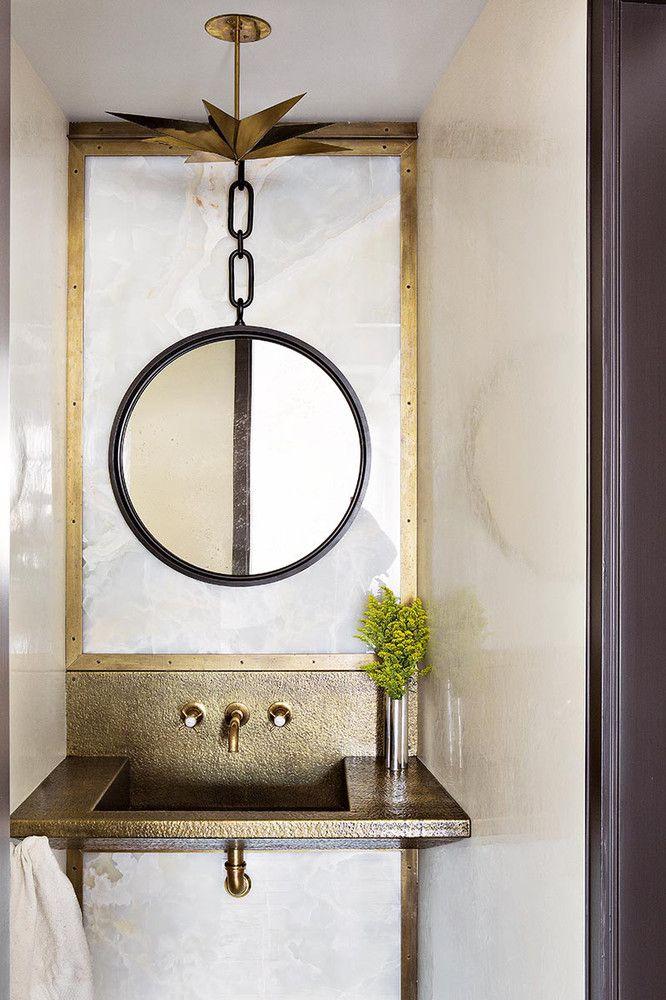 Vintage Light Powder Room Design Interior Inspiration Bathroom Inspiration