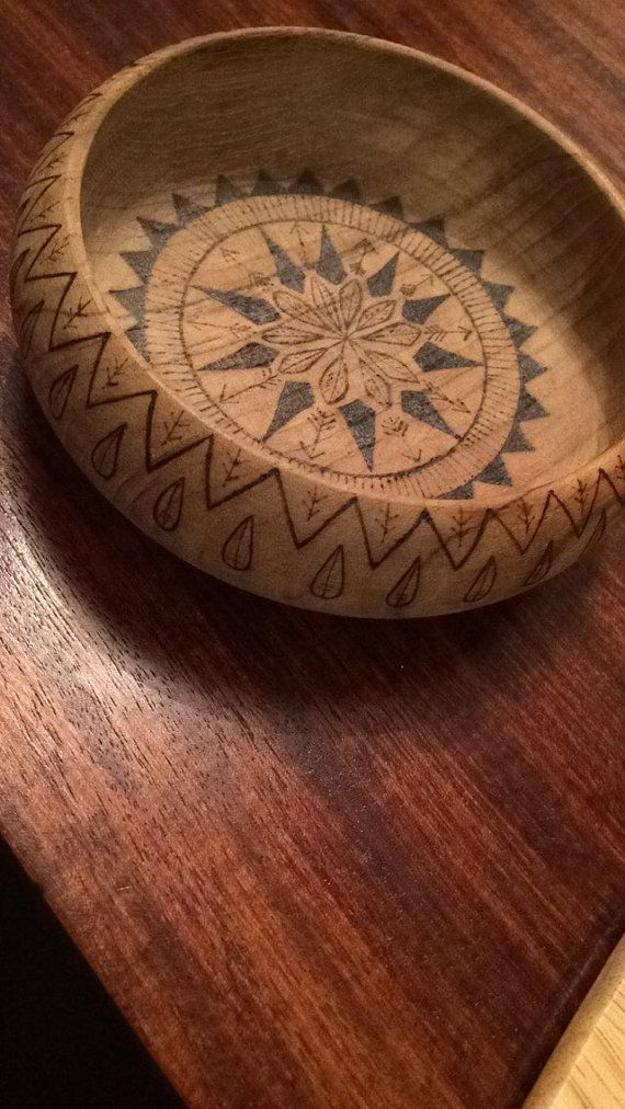 Tribal trinket dish wood burned teak bowl hand burned by RockeryCottage