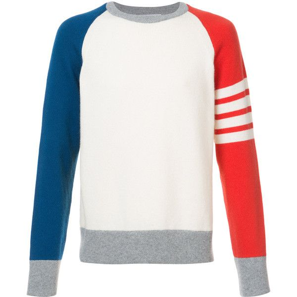Thom Browne Crewneck Pullover With 4-Bar Stripe In Funmix Cashmere (3.775 BRL) ❤ liked on Polyvore featuring men's fashion, men's clothing, men's sweaters, white, mens white cashmere sweater, mens cashmere sweaters, mens crew neck sweaters, mens striped sweater and mens white sweater