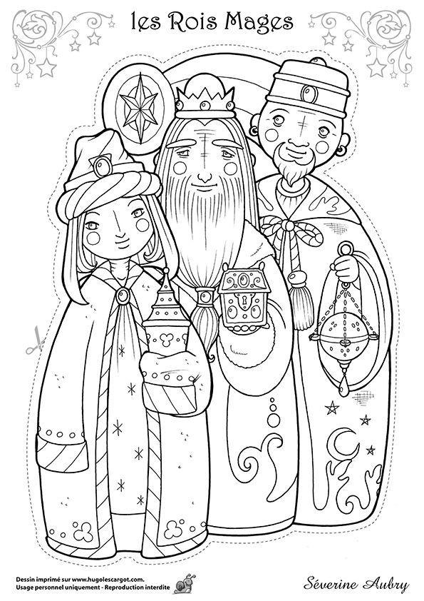 Dessin à colorier d'un des héros de Noël, les trois rois Mages - Hugolescargot.com
