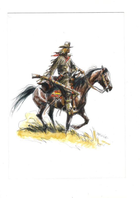 Buddy Longway rijden door Derib - Stock Illustratie 2002  aquarel - W.B.
