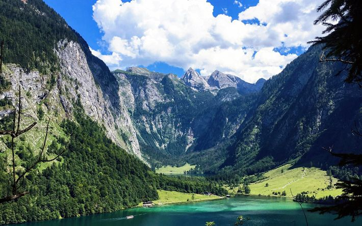 Lataa kuva Berchtesgaden National Park, lake, vuoret, kesällä, Saksa