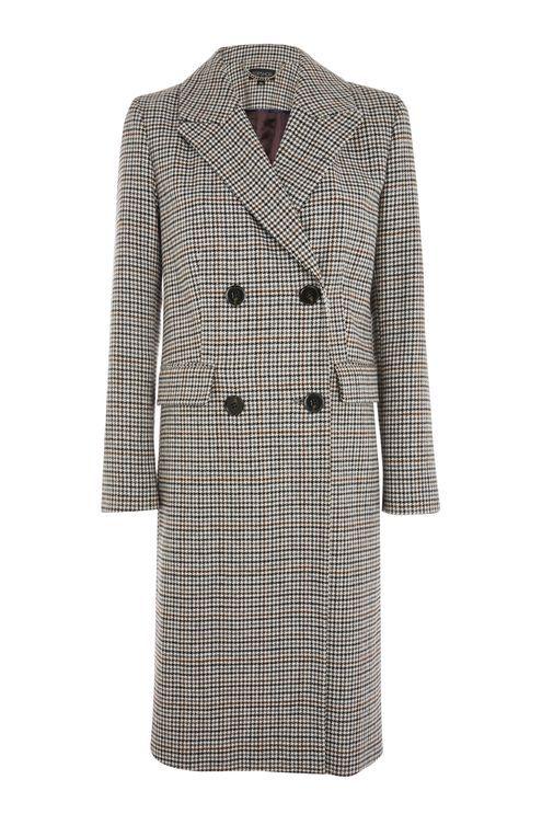 Checked Editors Crombie Coat, $180.00, Topshop
