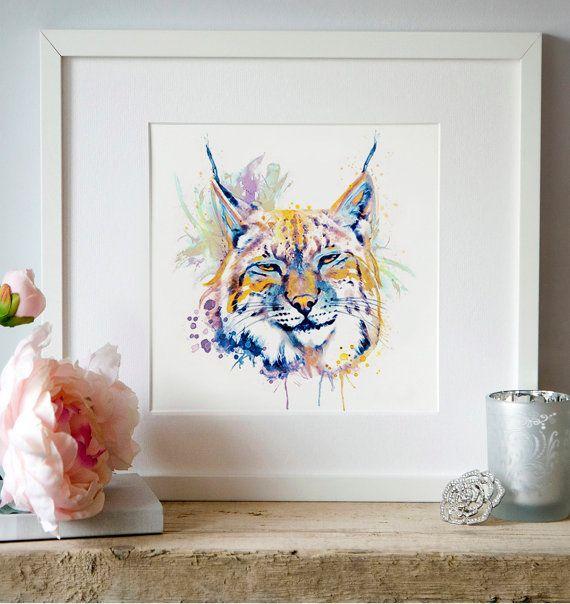 Bobcat Head Watercolor portrait Lynx Wall art by Artsyndrome