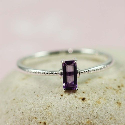 Silver Rectangle Amethyst Ring...if Feb baby, right hand birthstone ring..