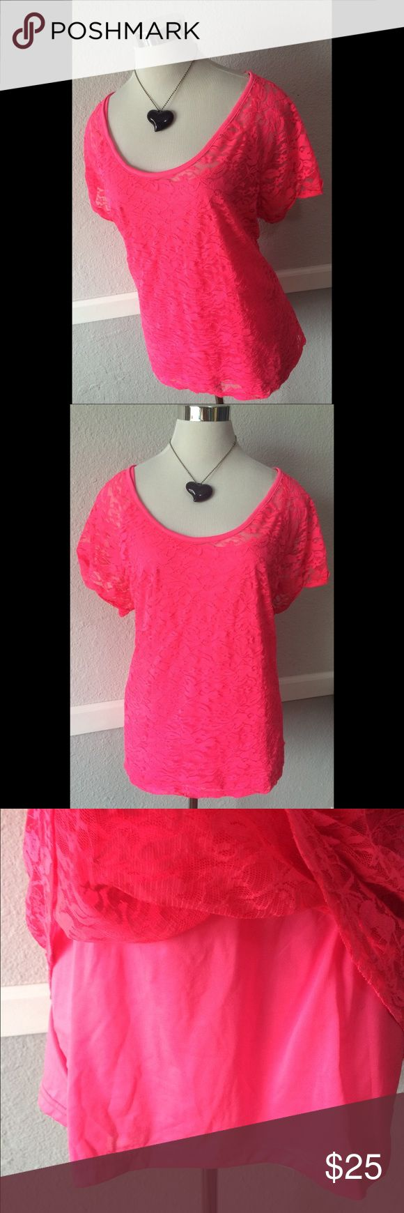 Hot Pink Lace Blouse XL Cute Stylish Fun Pretty Excellent condition. Sheer Lace with included Cami. Both hot Pink. Marked 3x but fits XL best bobbie brooks Tops Blouses