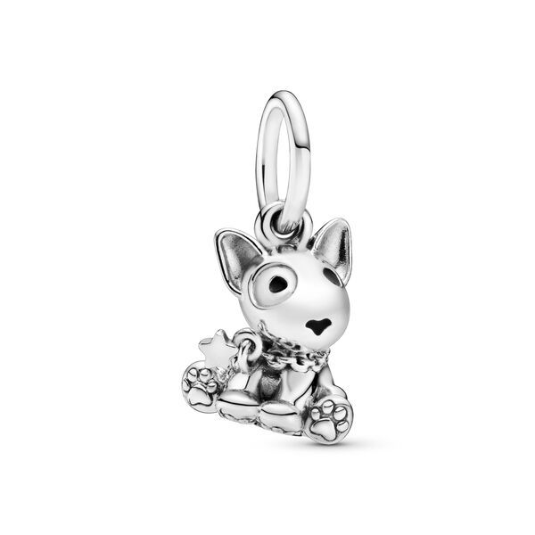 I Love My Dog Charm 925 Sterling Silver Dangel Bone Bead with Clear Cubic Zirconia Animal Pet Charm for Bracelet