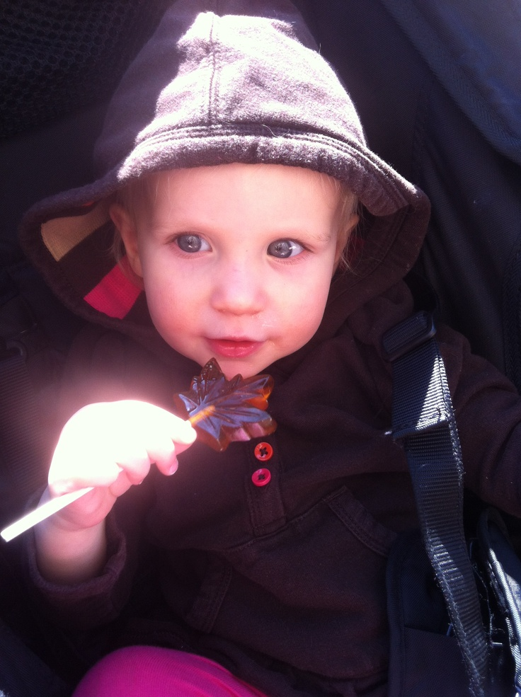 My Lily enjoying a Maple Lollipop at Mountsberg's Maple Syrup Festival #MapleSyrup #March #MiltonOn