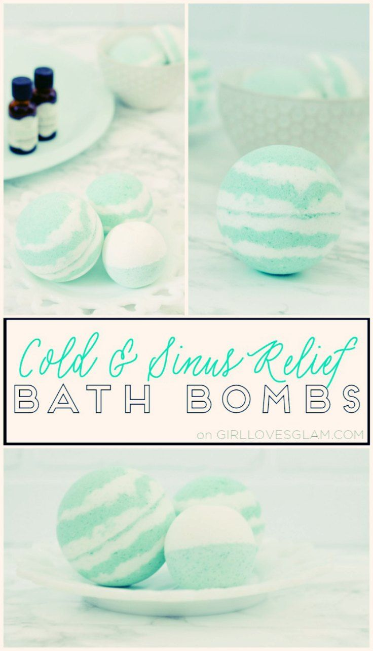 - Cold & Sinus relief bath bombs -   I have the perfect bath bomb recipe for cold and flu season! This bath bomb helps clear out sinuses and relieves achy muscles at the same time. They can be used like traditional bath bombs or they can be put in the shower to steam up and clear out your sinuses if taking baths isn't your thing.  #BathBombs #BombasBaño #relaxation #relajacion #bath #baño #sinus #congestion  via: @mckenzieg