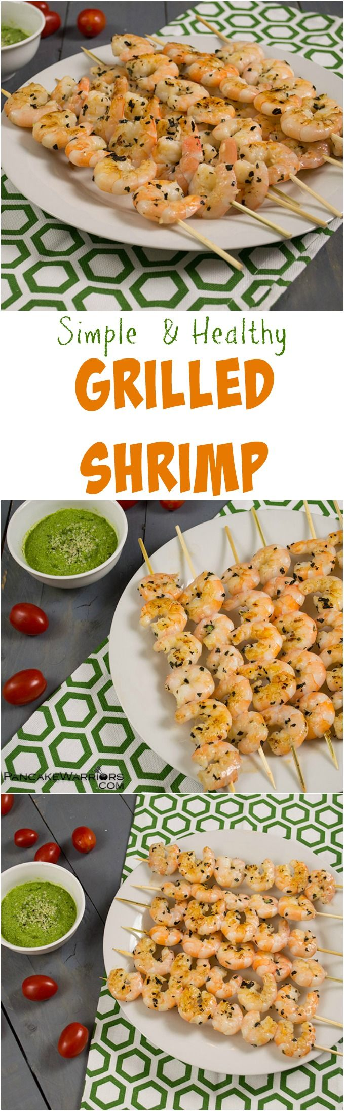 Easy grilled shrimp recipe. This is the perfect, healthy option for cookouts! Enjoy with healthy basil pesto for dipping! This is a family favorite, so be sure to make more than you think you need.