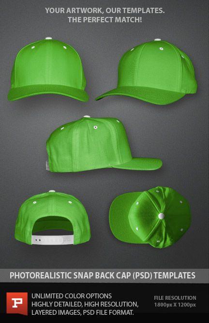 Snapback hat template Photoshop mockup. Easy to use. Photorealistic.