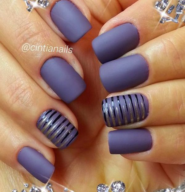Gray matte nail polishes look extremely sleek. But you can add more fun to the design by adding some stripes of glossy and glittery nail polish in black and gold, respectively.