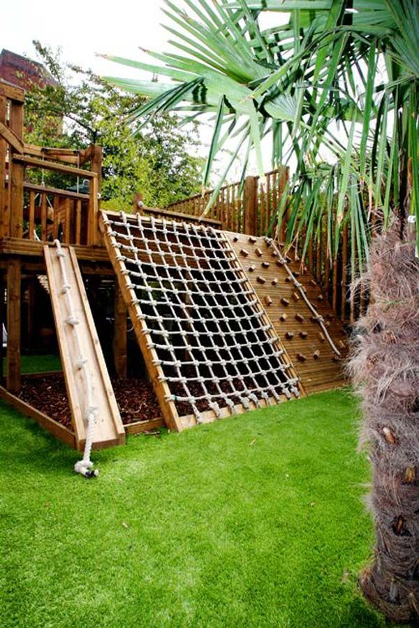 Kids of all ages would love to have a climbing structure like this, which features with climbing wall, knotted rope, climbing net and so on.