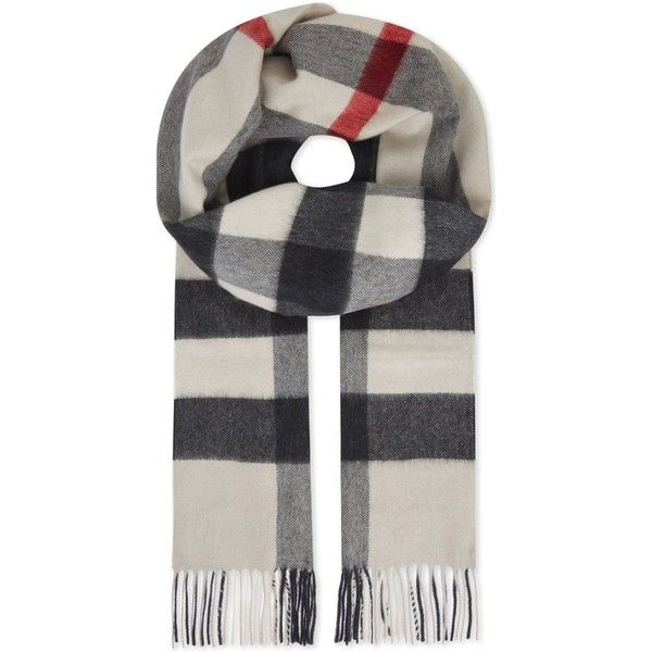BURBERRY House check cashmere scarf (575 PAB) ❤ liked on Polyvore featuring men's fashion, men's accessories, men's scarves, mens cashmere scarves and burberry mens scarves