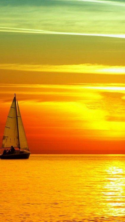 Orange sailboat