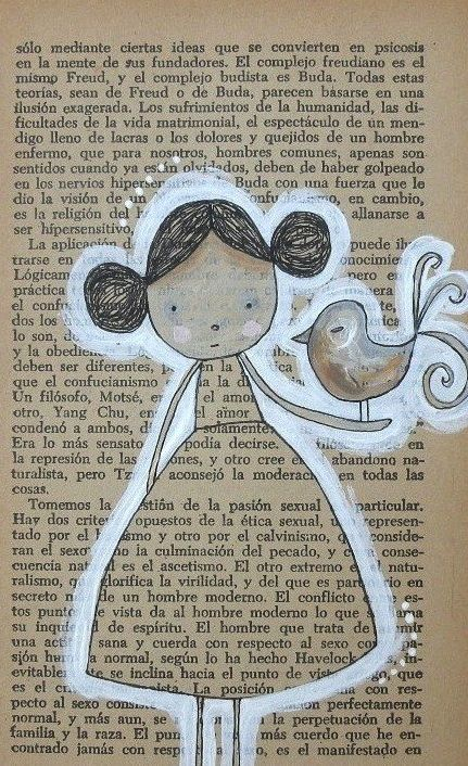 Book Art: Drawing on text paper and outlining in white.