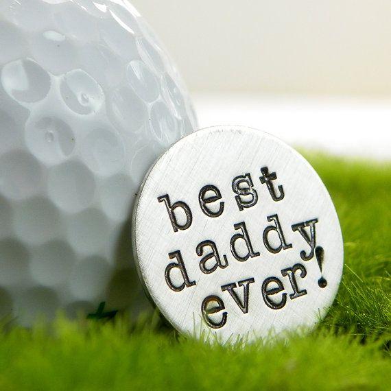 Pocket Token - Golf Ball Marker - Best Daddy Ever hand stamped sterling silver golf ball marker