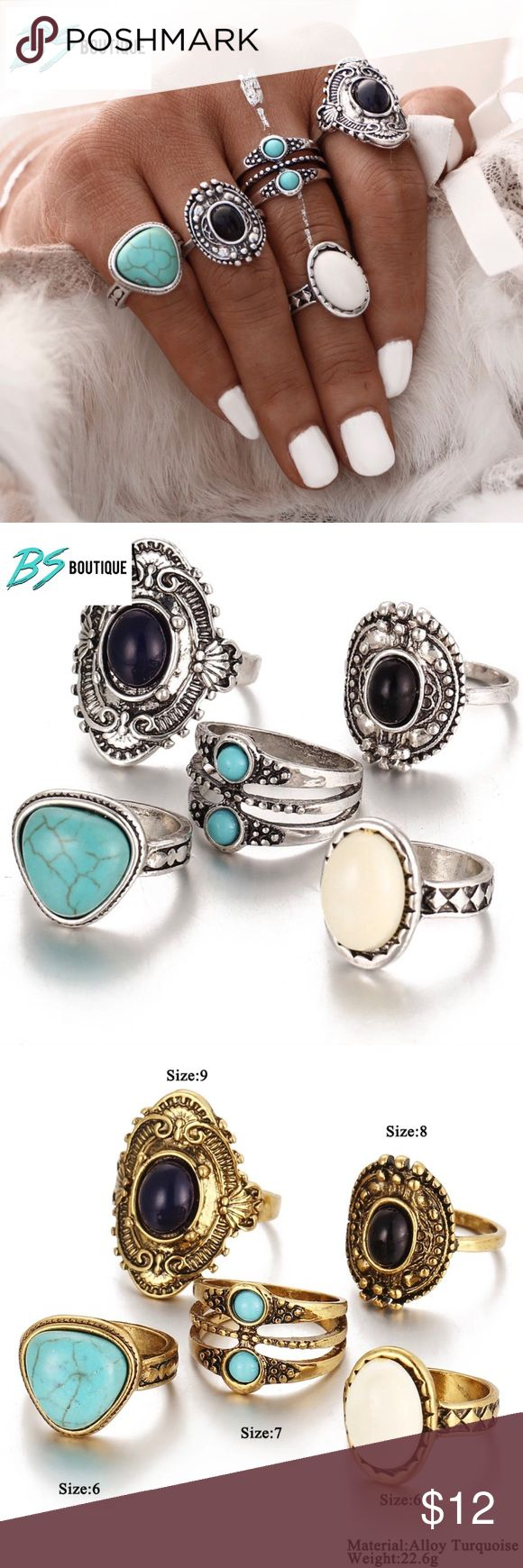 LAST SET 5 Pc Silver Turquoise Boho Rings Midi LAST SET 5 PCS- SILVER ONLY    BRAND NEW  All items arrive adorably gift wrapped.   Simply bundle your items & save   WHILE SUPPLIES LAST  Thanks for your support & enjoy!   TAGS ONLY: NOT: Nasty Gal Victoria's Secret Ulta Sephora MAC H&M Lululemon Francesca's kate spade J. Crew Kardashian Free People Juicy Stella & Dot Smashbox Anthropology Urban Outfitters follow game Kylie contour classy trending deal sale stylish hot trend high fashion…