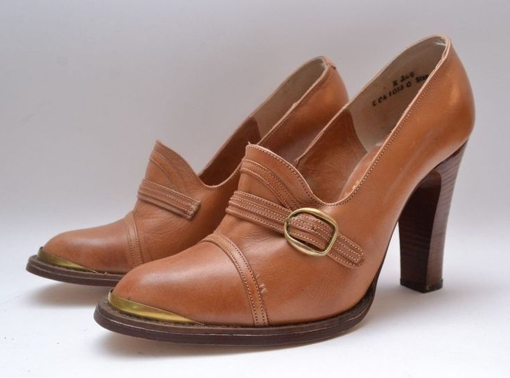 Stunning Vintage 1970s 'Miss Rose of London' Tan Leather Heeled Ladies Shoes #MissRoseofLondon #Heels #Everyday