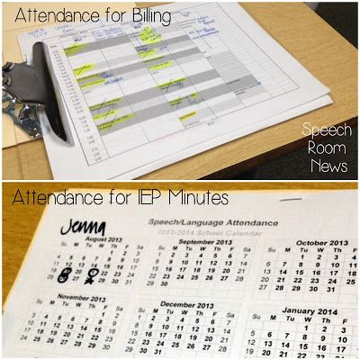 SLP 101: I keep attendance in two ways. Both quick and easy in order to facilitate billing and monitoring  serviced minutes.