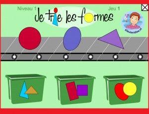 Vormen sorteren met kleuters op digibord of computer 1, kleuteridee / Shape Game for preschoolers in IWB or computer