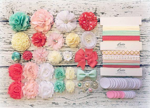 Headband Making Kit - Baby Shower Headband Station - MAKES 15+ or 25+ HEADBANDS!! Light Pink, Mint, Coral, White, Ivory - Most Popular Kit