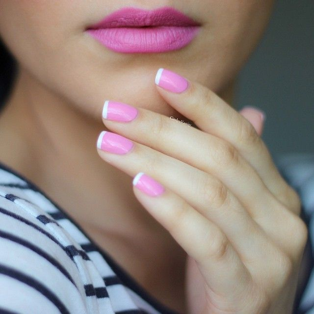 Pretty Pink French Manicure and matching Pink Lips   ~  we ❤ this! moncheribridals.com #weddingnails