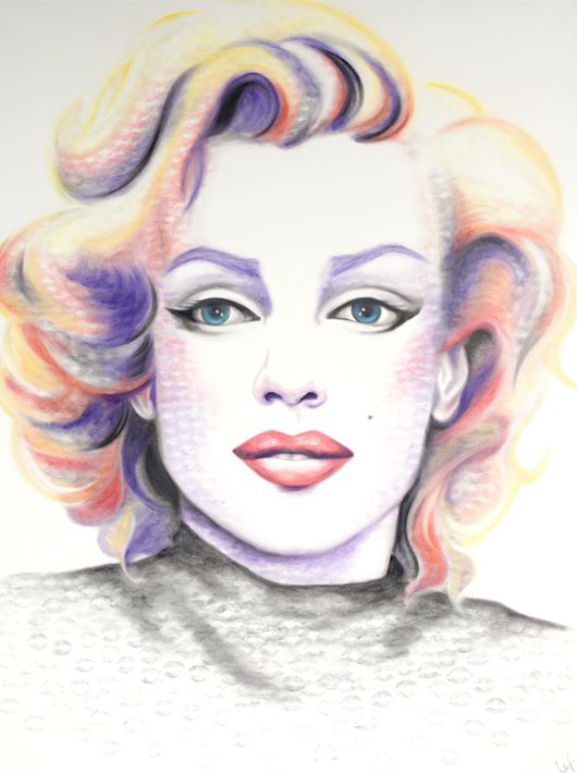 Marilyn Monroe portrait created with lipstick and kiss prints!  Gallery - Lipstick Lex