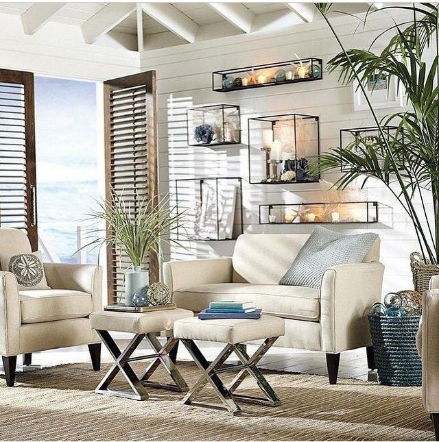 Love The Boxes On Wall Coastal Decor Living RoomLiving
