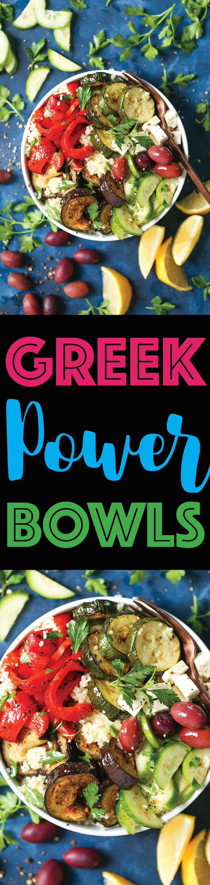 Greek Power Bowls - The quickest Mediterranean-inspired POWER BOWLS! Made in less than 30 minutes with roasted eggplant, zucchini, bell peppers, fresh cucumbers, olives and feta with a simple yet amazing red wine vinaigrette! Nutrient-rich, low-carb, filling and healthy!