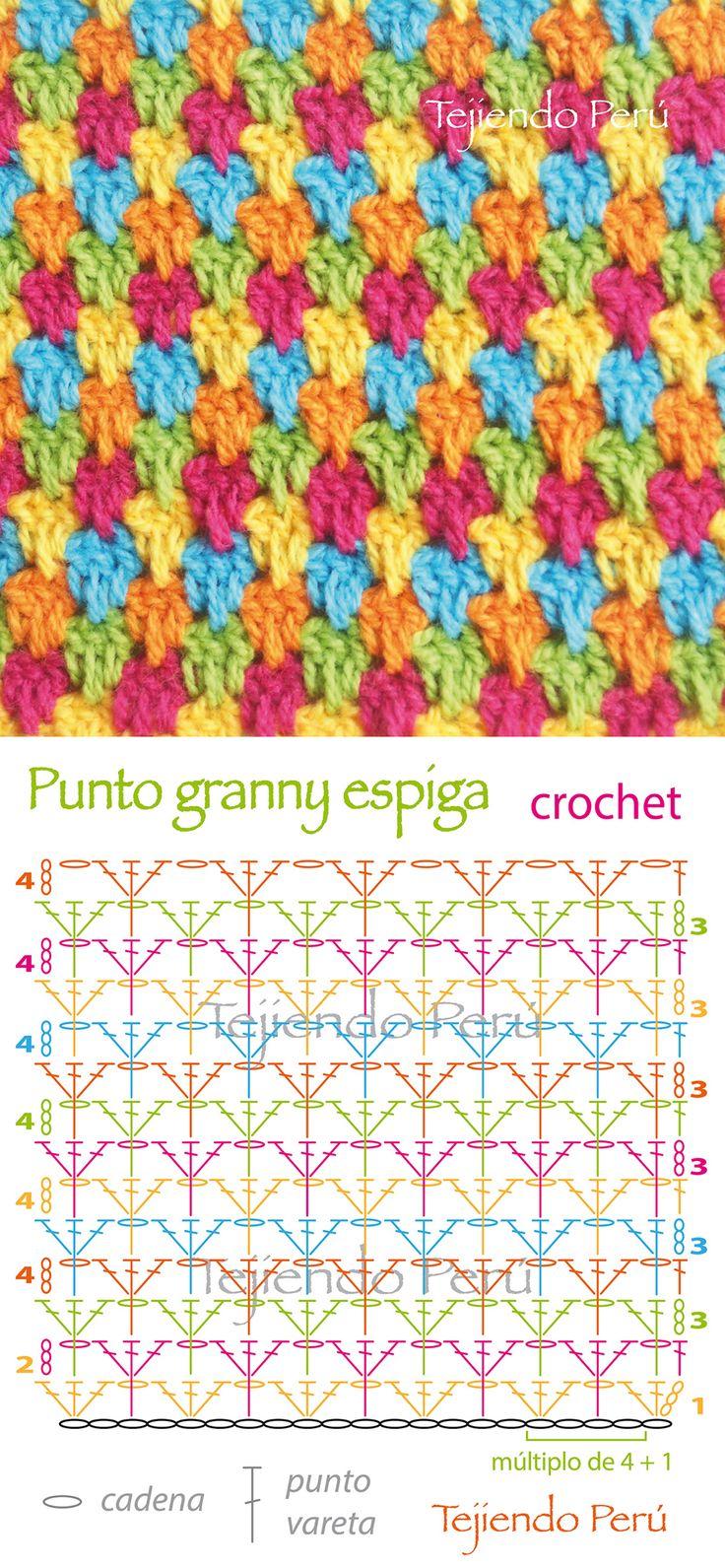 Crochet: diagrama del punto granny espiga! Es una variación del punto granny normal :)                                                                                                                                                                                 Más