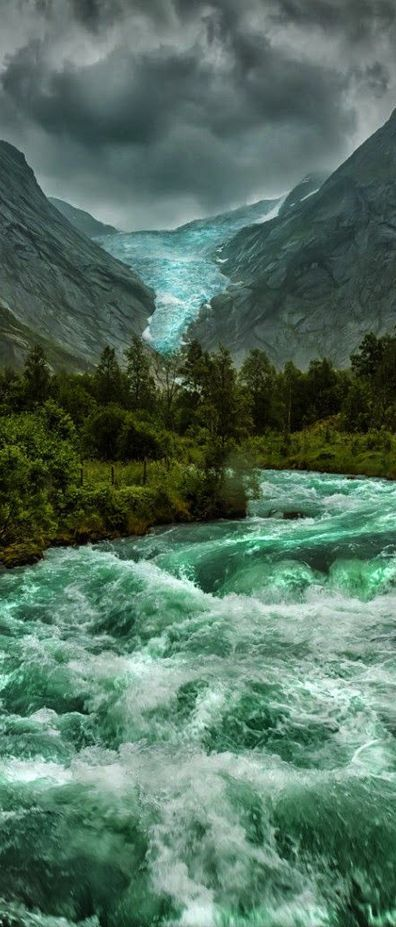 Briksdalsbreen Glacier , Norway. One of the most beautiful places I've been! Emerald green rivers, 'Hüt für Let' Small cabin for rent on the tundra, glacier hiking, Fjords, Oslo etc etc!