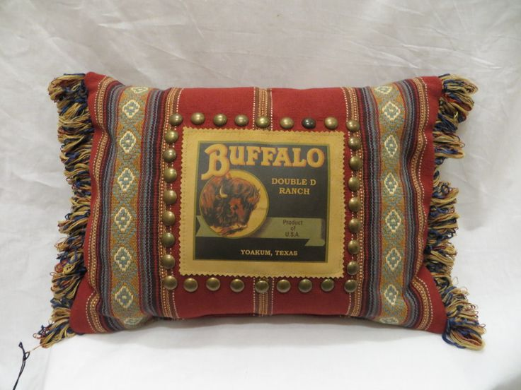 Double D Ranch Buffalo Pillow   Jenny Longhorn