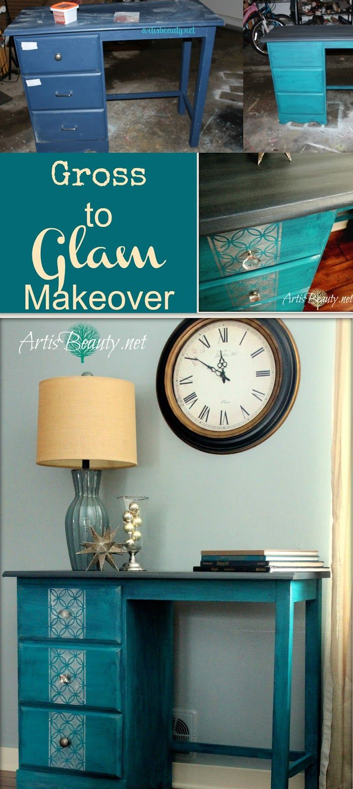 ART IS BEAUTY: Peacock blue and silver Vintage glamour Goodwill Desk Makeover