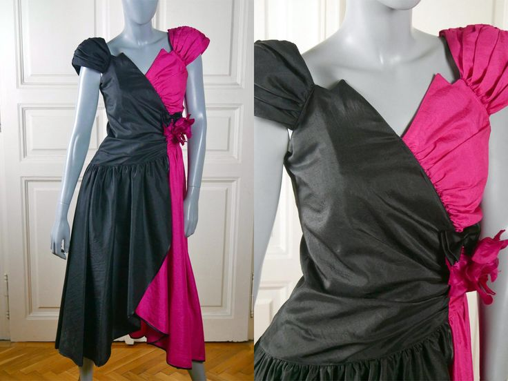 Vintage Prom Dress, Black Cerise Pink Formal Dress, Retro 1980s Party Dress: Size 6 US, Size 10 UK by YouLookAmazing on Etsy