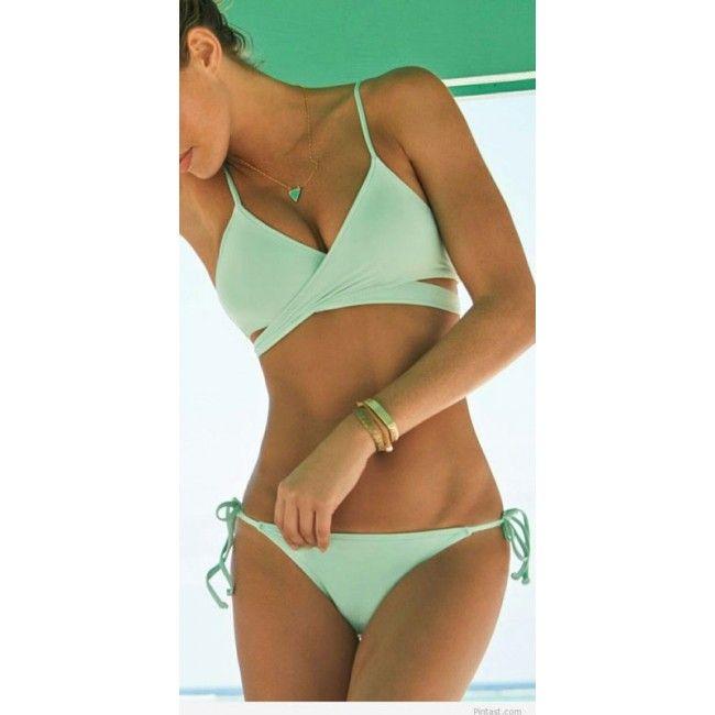 New Mint Green Bandage Push-up Bikini Set Padded Bra Triangle Swimsuit only $20.99