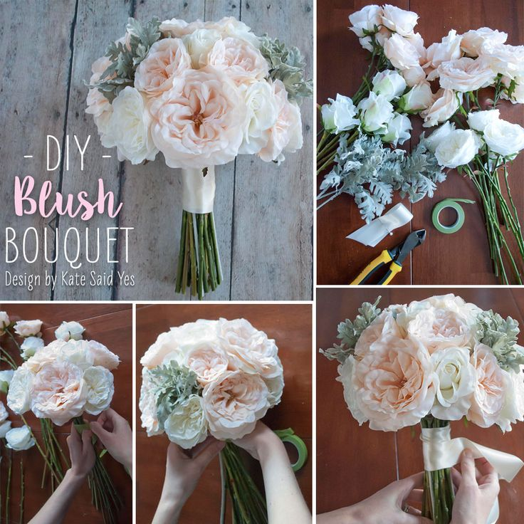 Follow this simple DIY and make your own wedding bouquets ahead of time with beautiful silk flower from afloral.com! #diywedding  Design by Kate Said Yes