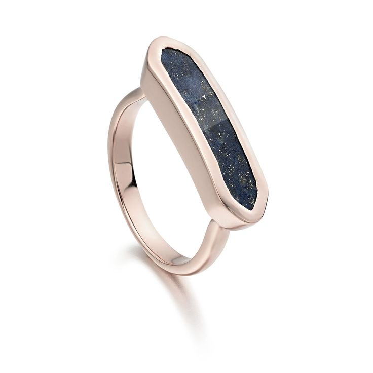 This Art Deco inspired ring features a striking geometric Lapis gemstone set in 18ct Rose Gold Plated Vermeil on Sterling Silver. The bar measures approximately 22mm x 6mm. Wear alone or stack with other Baja designs for a sharp, contemporary look.