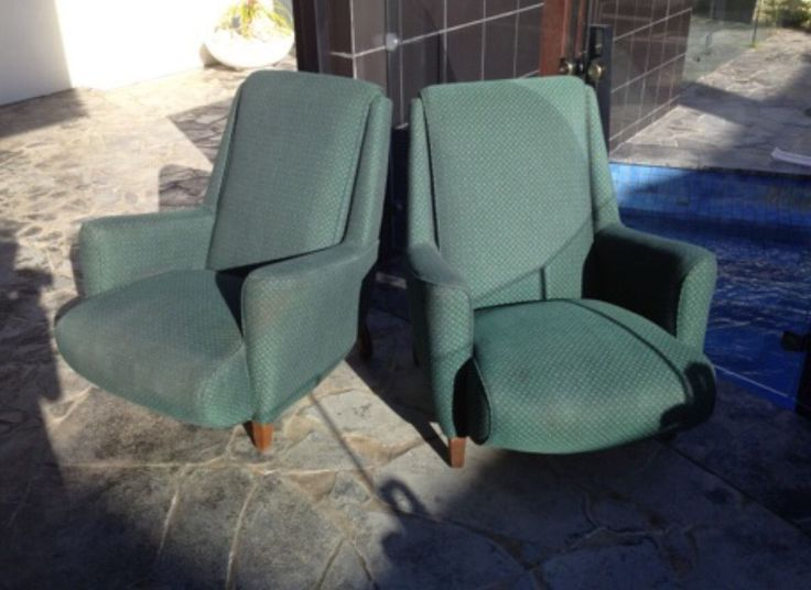 Pair Of Retro Green Speck Sleepy Hollow Chairs AU $950.00 A Fabulous Pair  Of Vintage Retro