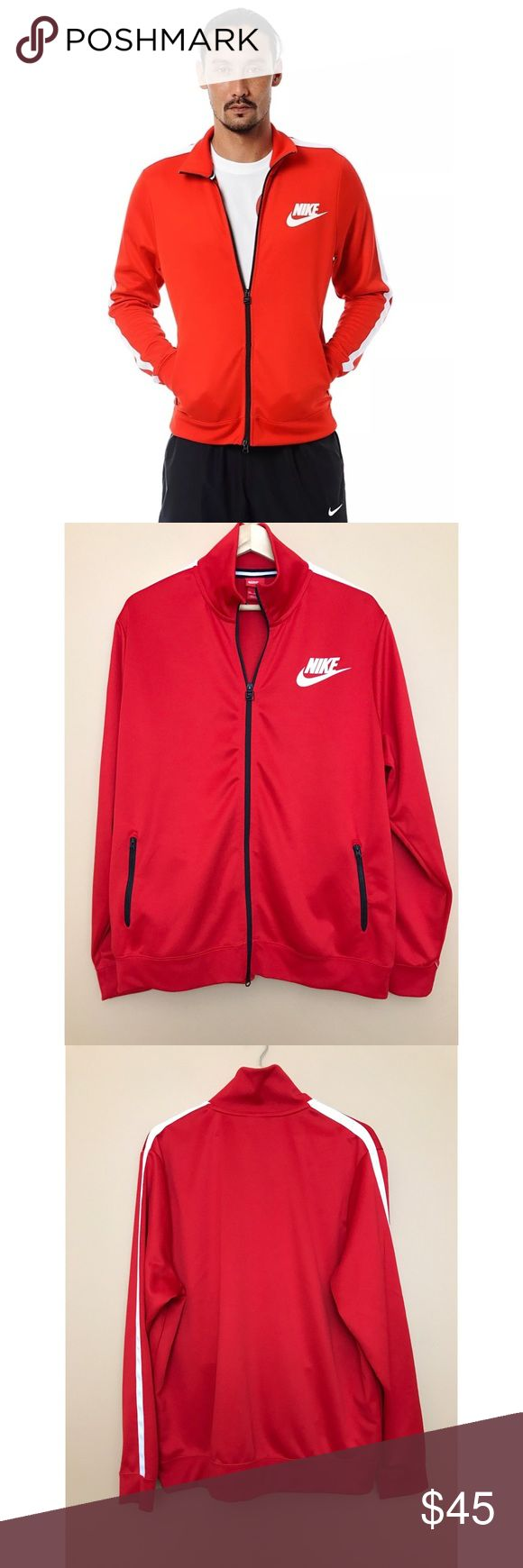 """Nike Jacket Red White Tracksuit Jacket Sweater Pen markings on the left sleeve. Top of the left shoulder has stains on the white strip. (Pictured)  100% Polyester  Machine washable  Size 2XL  Approximately: 30"""" Long 28"""" Pit to pit 27.5"""" Sleeves 19.5"""" Shoulder 3.5"""" Collar Nike Tops Sweatshirts & Hoodies"""