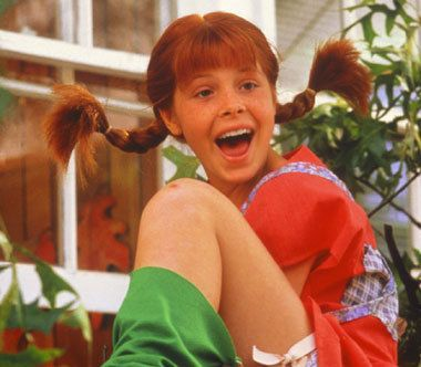 Pippi Longstocking is coming into your world, A freckled face red hed girl...