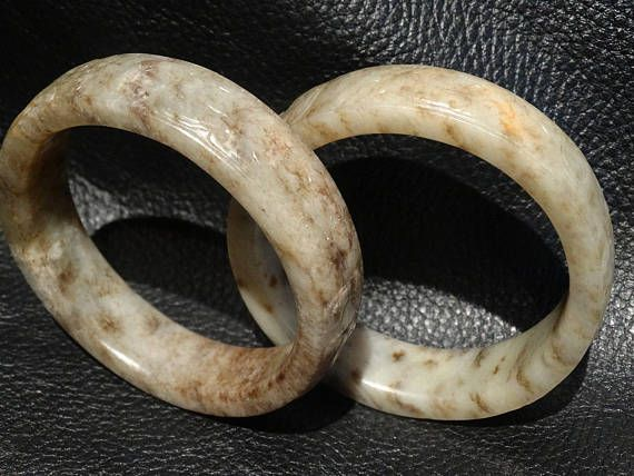 Pair Antique Jade Bangles Carved Nephrite Qing Dynasty