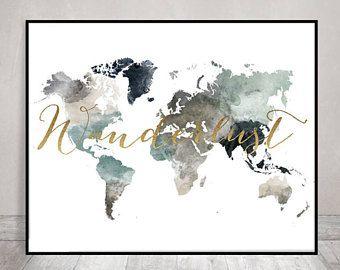 The 25 best world map wall art ideas on pinterest world map world map print watercolor travel map large world map world map watercolor pastel fine art prints home decor artprintsvicky gumiabroncs Gallery